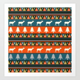 Festive Christmas deer pattern Art Print
