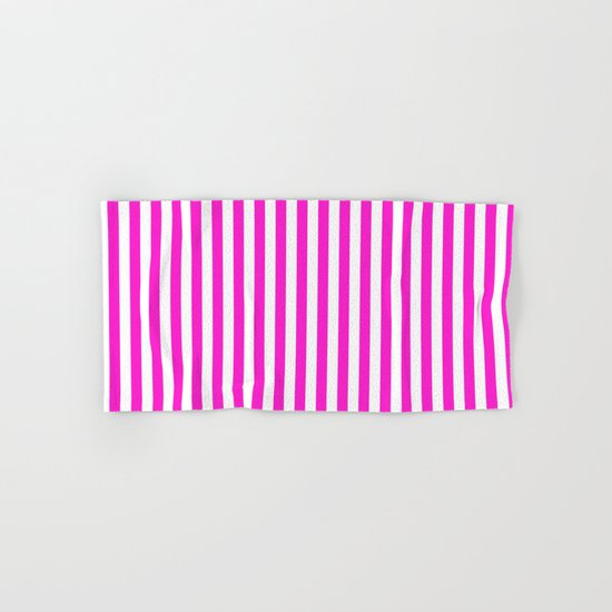 Vertical Stripes (Hot Magenta/White) Hand & Bath Towel
