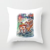 street Throw Pillows featuring Street by Anastasia Tayurskaya