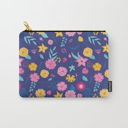 Modern dark slate blue neon pink yellow floral Carry-All Pouch