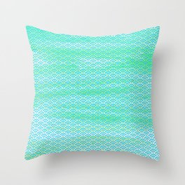 Magic Sea Watercolor Seigaiha Pattern Throw Pillow