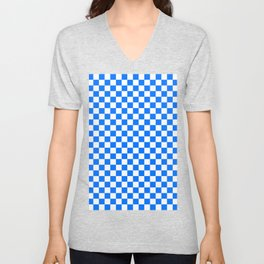 White and Brandeis Blue Checkerboard Unisex V-Neck