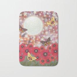the moon, stars, io moths, & poppies Bath Mat