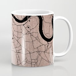 London Rosegold on Black Street Map Coffee Mug