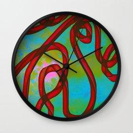 """Galactic Ribbon"" (Cherry/Lime) Digital Painting // Fine Art Print Wall Clock"