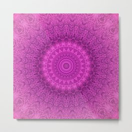 Sunflower Peacock Feather Bohemian Pattern \\ Aesthetic Vintage \\  Bright Fuchsia Pink Color Scheme Metal Print