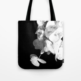 White Orchids Black Background Tote Bag
