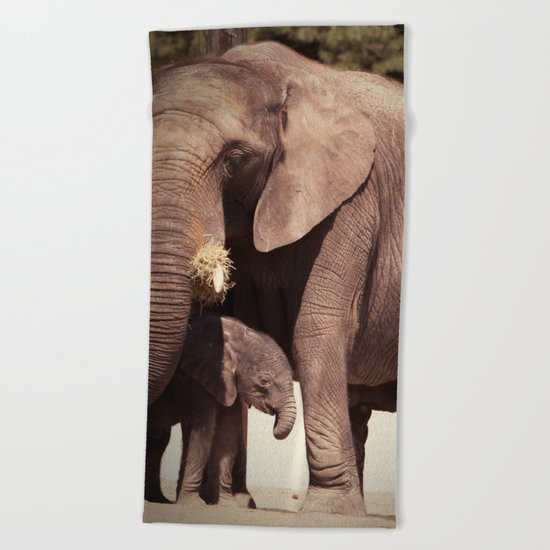 Elephants, mother and child Beach Towel