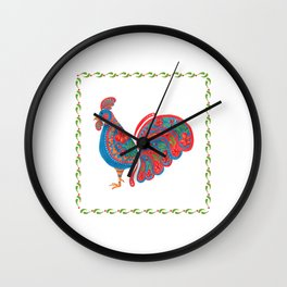 The Blue Roosters Wall Clock