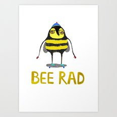 Bee. bee art, bee illustration, nature, illustration, wall, kids, skater, skateboarding, rad, Art Print