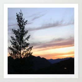Dusk in the mountains Art Print