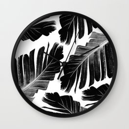Tropical Black Banana Leaves Dream #1 #decor #art #society6 Wall Clock