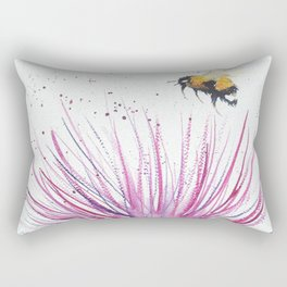 Bumble bee and Pink Flower Rectangular Pillow