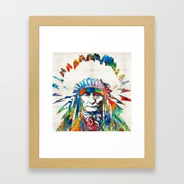 Native American Art - Chief - By Sharon Cummings Framed Art Print