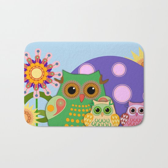 Owls, Flowers Fantasy design Bath Mat