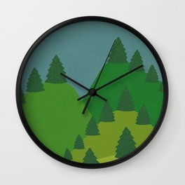 Blue Sky over Green Summer Mountain and Forest Wall Clock