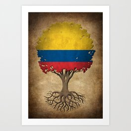 Vintage Tree of Life with Flag of Colombia Art Print