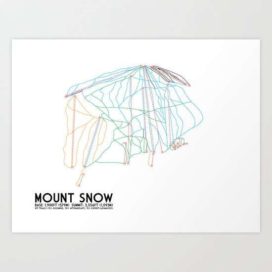 Mount Snow, VT - Minimalist Trail Art Art Print