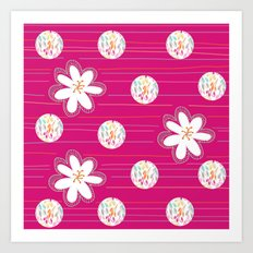 Swirl Dots & Flowers Art Print