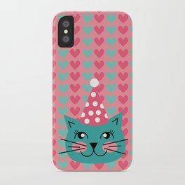 Cat Party hat iPhone Case
