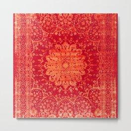 Geometric Orange Oriental Vintage Traditional Moroccan Mandala Metal Print