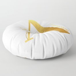 Letter A Initial Gold Monogram Black And White Floor Pillow