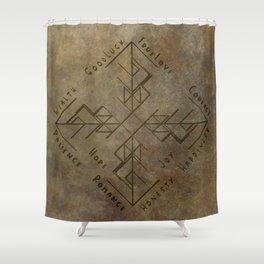 Binding Rune - Joy of Fortunes Engraved Shower Curtain