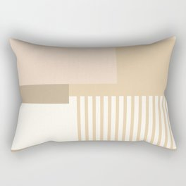 Sol Abstract Geometric Print in Tan Rectangular Pillow