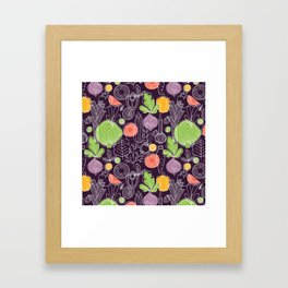 Vegetable Pattern Scandinavian Design Framed Art Print