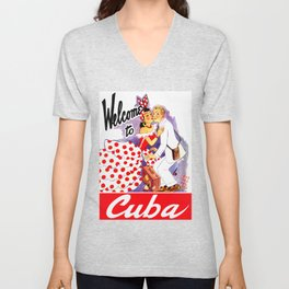 Vintage Welcome to Cuba Travel Poster Unisex V-Neck