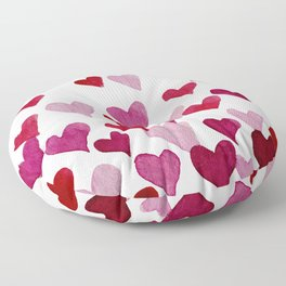 Valentine's Day Watercolor Hearts - pink Floor Pillow