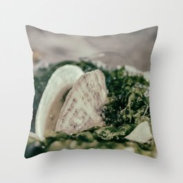 Seaweed and Shells on the Beach Nature / Coastal Photograph Throw Pillow