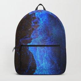 Night Ocean Glowing Waves - Bioluminescent Plankton Backpack
