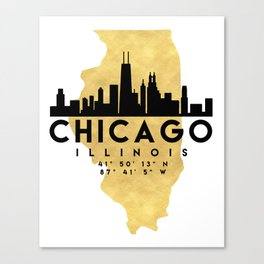 CHICAGO ILLINOIS SILHOUETTE SKYLINE MAP ART Canvas Print