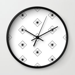 Black & White Rhombus & Squares Pattern Wall Clock