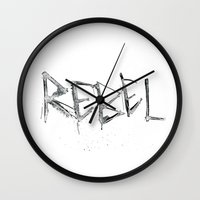 rebel Wall Clocks featuring Rebel by Victoria Schiariti