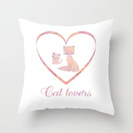 Abstract Watercolor Cat Lovers Typography Throw Pillow