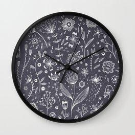 Chalkboard Flowers Wall Clock