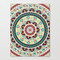 Canvas Prints featuring Sloth Yoga Medallion by Huebucket