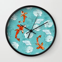 Waterlily koi in turquoise Wall Clock