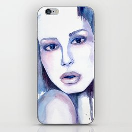 Watercolor - Woman in blue iPhone Skin