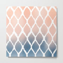 Navy and Peach Ikat Metal Print