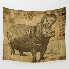 Vintage retro Hippo wildlife animal africa Wall Tapestry