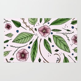 Hanging Among the Flowers & Leaves (PINK) Rug