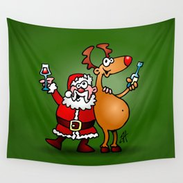 Santa Claus and his Reindeer Wall Tapestry