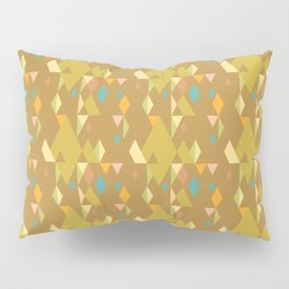 Rhombuses on mustard yellow background, abstract seamless pattern Pillow Sham