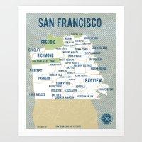 san francisco map Art Prints featuring San Francisco Map by Vassi Slavova