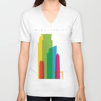 fargo V-neck T-shirts featuring Shapes of Minneapolis by Glen Gould