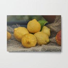 lemon in the basket Metal Print
