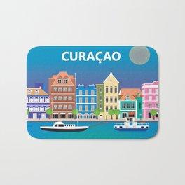 Curacao - Skyline Illustration by Loose Petals Bath Mat